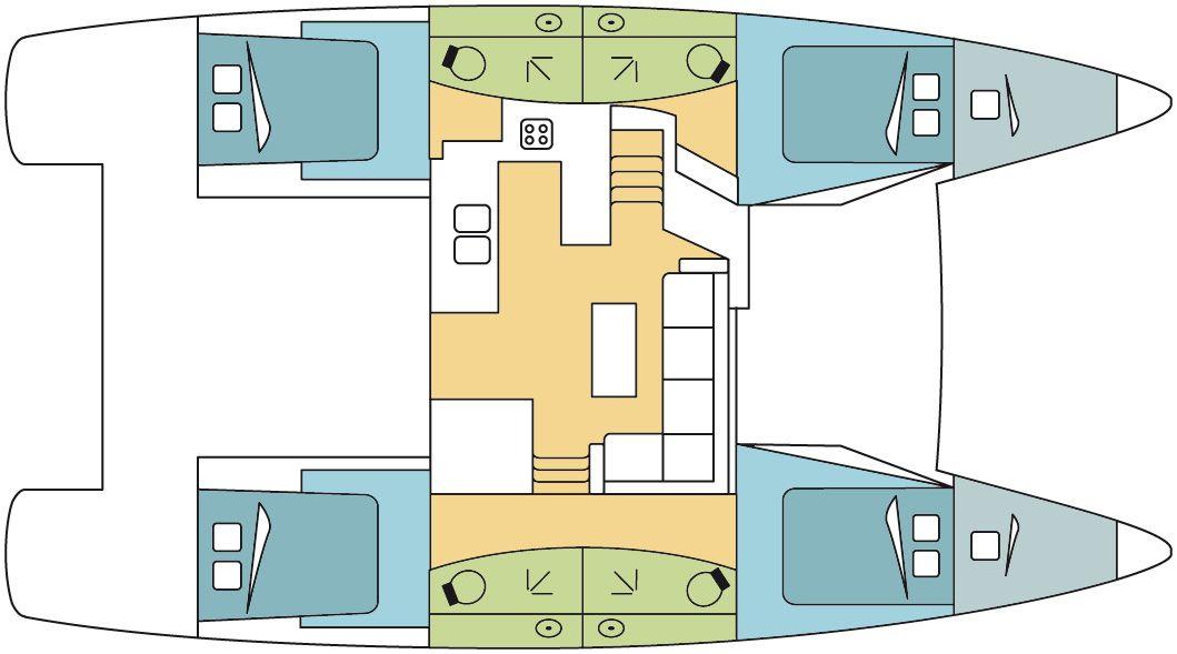 Die Charterversion ist mit vier Kabinen erhältlich, je nach Ausführung auch mit einer Skipperkabine oder zwei kleineren Kabinen im Bug.
