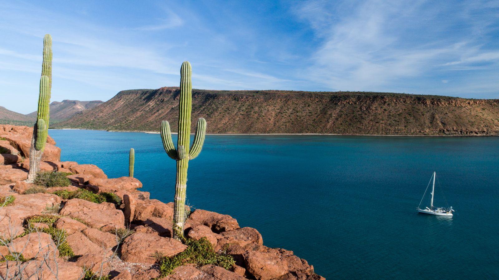 Wer von La Paz Richtung Norden segelt, erlebt die für diesen Teil Mexikos typische Wüstenlandschaft, wie hier bei den Inseln Espiritu Santo. ©leonardogonzalez/AdobeStock