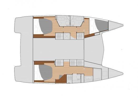 Variante mit 3 Kabinen und 3 Badezimmern
