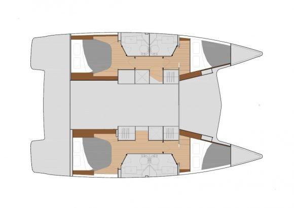 Variante mit 4 Kabinen und 4 Badezimmern